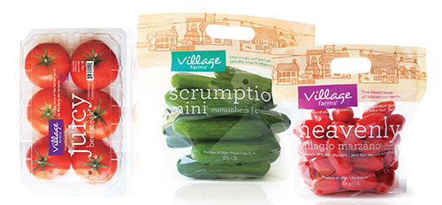 Village Farms displays examples of see-through packaging.